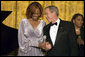 President George W. Bush thanks Yolanda Adams after her performance at a dinner in honor of the Ford's Theatre Abraham Lincoln Bicentennial Celebration Sunday, Feb. 11, 2007. White House photo by Paul Morse