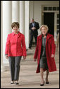 Mrs. Laura Bush walks with Alma Adamkus, the First Lady of Lithuania, along the colonnade in the Rose Garden during a visit to the White House Monday, Feb. 12, 2007. White House photo by Shealah Craighead