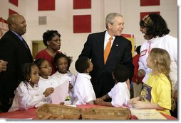 President George W. Bush visits YMCA Anthony Bowen in Washington, D.C., Tuesday, Feb. 13, 2007. White House photo by Eric Draper