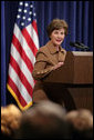 "Mrs. Laura Bush talks about controlling malaria in Africa with groups who combat the disease during a roundtable discussion in the Dwight D. Eisenhower Executive Office Building Thursday, Feb. 15, 2007. ""President Bush and I appreciate your work. We urge you and even more faith-based and community organizations to join these efforts,"" said Mrs. Bush. ""We also encourage religious and community groups to reach more people by using their resources strategically."" White House photo by Shealah Craighead"