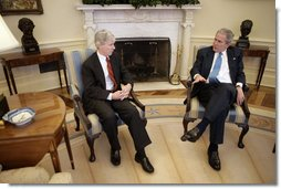 President George W. Bush meets with Ambassador Ryan Crocker, Ambassador-Designee to Iraq, in the Oval Office Friday, Feb. 16, 2007.  White House photo by Eric Draper