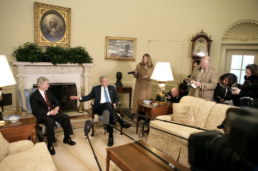 President George W. Bush talks with the press during a meeting with Ambassador Ryan Crocker, Ambassador-Designee to Iraq, in the Oval Office Friday, Feb. 16, 2007. White House photo by Eric Draper