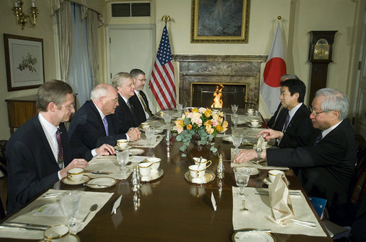 Vice President Dick Cheney holds a breakfast meeting with Japanese Chief Cabinet Secretary Yasuhisa Shiozaki and Japanese officials at the U.S. Ambassador's residence in Tokyo, Wednesday, February 21, 2007. Seated with the Vice President, from left, is Assistant to the Vice President for National Security Affairs John Hannah, U.S. Ambassador to Japan Thomas Schieffer, and Chief of Staff to the Vice President David Addington. White House photo by David Bohrer