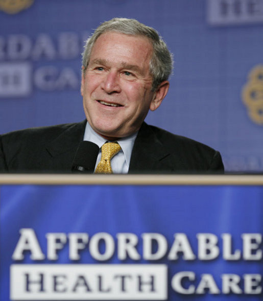 President George W. Bush participates in a question and answer discussion on health care initiatives Wednesday, Feb. 21, 2007, at the Chattanooga Convention Center in Chattanooga, Tenn. White House photo by Paul Morse