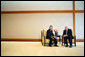 Vice President Dick Cheney talks with Japan's Emperor Akihito during a visit Wednesday, Feb. 21, 2007, to the Imperial Palace in Tokyo. White House photo by David Bohrer