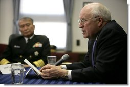 Vice President Dick Cheney delivers a statement during a meeting Wednesday, Feb. 21, 2007, with senior U.S. and Japanese military personnel at Yokosuka Naval Base in Tokyo.  White House photo by David Bohrer