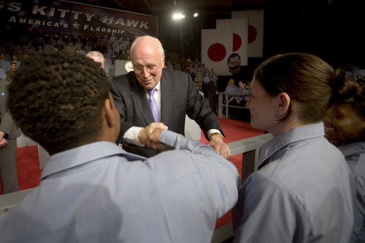 Vice President Dick Cheney greets U.S. troops Wednesday, Feb. 21, 2007, after his speech aboard the aircraft carrier USS Kitty Hawk at Yokosuka Naval Base in Japan. White House photo by David Bohrer