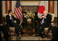 Vice President Dick Cheney meets with Japanese Foreign Minister Taro Aso Wednesday, Feb. 21, 2007, at the U.S. Embassy in Tokyo. White House photo by David Bohrer
