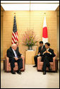 Vice President Dick Cheney meets with Prime Minister Shinzo Abe of Japan, Wednesday, Feb. 21, 2007, at the Kantei, the official residence of the Prime Minister, in Tokyo. White House photo by David Bohrer
