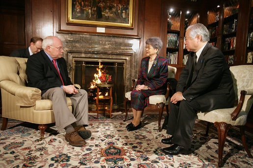 Vice President Dick Cheney meets with Mr. Shingeru Yokota and Mrs. Sakie Yokota, Thursday, Feb. 22, 2007, at the U.S. Ambassador's Residence in Tokyo. The Yokota's daughter, Megumi Yakota, was abducted by North Korean agents three decades ago and remains missing. White House photo by David Bohrer