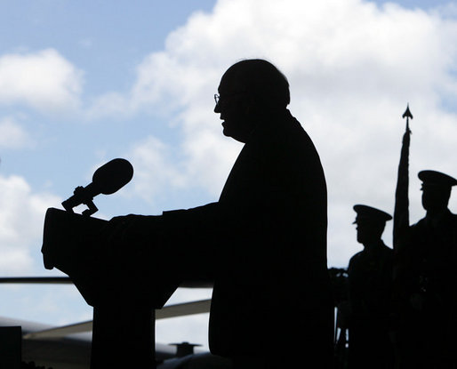 Vice President Dick Cheney delivers remarks during a rally for the troops, Thursday, Feb. 22, 2007, at Andersen Air Force Base, Guam. While en route from Tokyo to Sydney, Australia, the Vice President made the stop in Guam to thank the troops for their service and efforts in the global war on terror. White House photo by David Bohrer