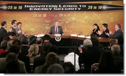 President George W. Bush is applauded during his participation at an energy forum discussion at Novozymes North America, Inc., Thursday, Feb. 22, 2007 in Franklinton, N.C., where President Bush praised the work and study being done to create alternative fuel sources. White House photo by Paul Morse