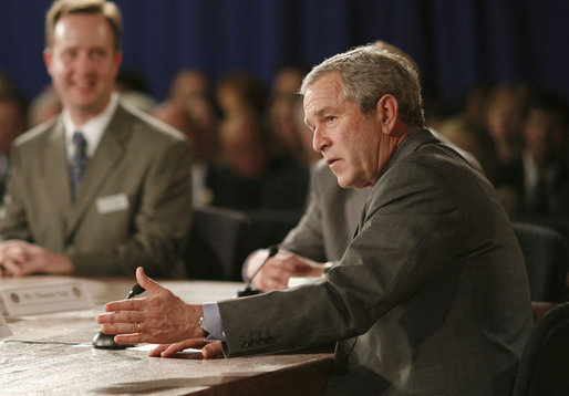 President George W. Bush gestures to emphasize a point during his participation at an energy forum discussion at Novozymes North America, Inc., Thursday, Feb. 22, 2007 in Franklinton, N.C., where President Bush praised the work being done to create new and diverse fuel sources. White House photo by Paul Morse