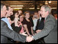 President George W. Bush shakes hands with employees and guests following his participation at an energy forum discussion and tour at Novozymes North America, Inc., Thursday, Feb. 22, 2007 in Franklinton, N.C. White House photo by Paul Morse