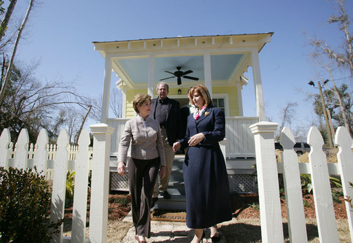 Mrs. Laura Bush talks with Mayor Connie Moran during a tour of Katrina Cottages, Thursday, Feb. 22, 2007 in Ocean Springs, Miss., the quaint, colorful and quickly built cottages for post-Katrina living. White House photo by Shealah Craighead