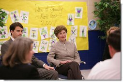 Mrs. Laura Bush participates in a discussion with school and local officials Thursday, Feb. 22, 2007 at the D'Iberville Elementary School in D'Iberville, Miss., about the continued progress of the children and the community in the aftermath of Hurricane Katrina. White House photo by Shealah Craighead