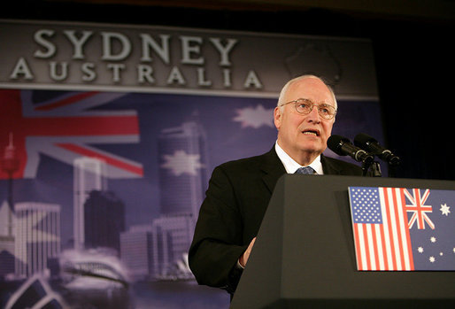 "Vice President Dick Cheney delivers remarks Friday, Feb. 23, 2007, to the Australian-American Leadership Dialogue in Sydney. The Vice President told the audience, ""This alliance is strong because we want it to be, and because we work at it, and because we respect each other as equals. That's the spirit of the Australian-American Leadership Dialogue -– and I thank the men and women of this organization for your tremendous contributions to the good of our alliance."" White House photo by David Bohrer"