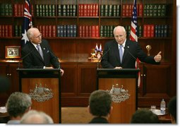 Vice President Dick Cheney answers a question Saturday, Feb. 24, 2007, during a joint press availability with Australian Prime Minister John Howard at the Prime Minister's office in Sydney. White House photo by David Bohrer