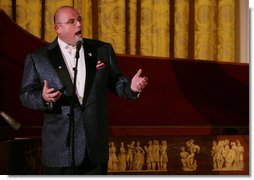 Tenor Ronan Tynan performs in the East Room of the White House Sunday evening, Feb. 25, 2007, during the State Dinner in honor of the Nation's Governors.  White House photo by Shealah Craighead
