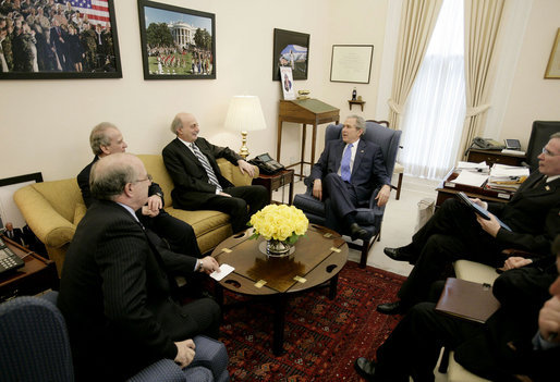 "President George W. Bush speaks with members of Lebanon's ""March 14"" coalition during a meeting at the White House Monday afternoon, Feb. 26, 2007, from left to right, former Lebanese Parliament member Ghattas Khoury; Lebanese Minister of Telecommunications Marwan Hamadeh and Walid Jumblatt, leader of the Progressive Socialist Party of Lebanon. National Security Advisor Stephen Hadley is seen at right. White House photo by Eric Draper"