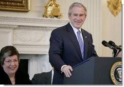 President George W. Bush addresses the National Governors Association in the State Dining Room of the White House, Monday, Feb. 26, 2007. National Governors Association chairwoman, Arizona Gov. Janet Napolitano, is seen at left. White House photo by Eric Draper