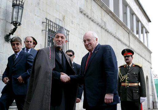 Vice President Dick Cheney shakes hands with Afghan President Hamid Karzai, Tuesday, Feb. 27, 2007 as the two leaders met at the presidential palace in Kabul to discuss regional issues. White House photo by David Bohrer
