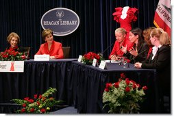 Mrs. Laura Bush and Mrs. Nancy Reagan listen to Lori Kupetz, heart disease survivor, during a panel discussion at the Reagan Presidential Library and Museum Wednesday, Feb. 28, 2007, in Simi Valley, Calif. Since the Heart Truth campaign began five years ago, more women are aware that heart disease is the #1 killer of women and fewer women are dying of heart disease. White House photo by Shealah Craighead