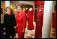 Mrs. Laura Bush and Mrs. Nancy Reagan pose for a photo during a tour of the Red Dress Exhibit at the Ronald Reagan Presidential Library and Museum Wednesday, Feb. 28, 2007, in Simi Valley, Calif. The exhibit features red dresses and suits worn by America's First Ladies who have joined the Heart Truth campaign to raise awareness of heart disease as the #1 killer of women. White House photo by Shealah Craighead
