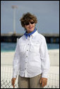 Laura Bush visits Midway Atoll, part of the Hawaiian archipelago, Thursday, March 1. 2007. The Northwest Hawaiian Islands consist of 10 islands and atolls stretched over 1,400 miles, the distance from Chicago to Miami. Around the islands and atolls are more than 4,500 square miles of coral reef which are home to 7,000 marine species, a quarter of which are found nowhere else in the world. President Bush designated the islands as a national monument June 15, 2006. It is the single largest conservation area created in U.S. history and the largest protected marine area in the world. White House photo by Shealah Craighead