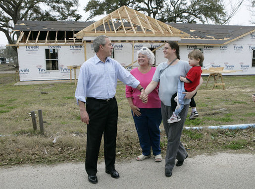 President George W. Bush meets and talks with the residents of Long Beach, Miss., Thursday, March 1, 2007, during his tour of the neighborhoods damaged and now rebuilding after Hurricane Katrina. White House photo by Eric Draper