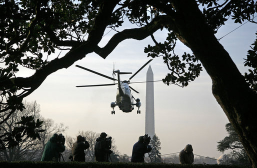 President George W. Bush departs the South Lawn via Marine One en route to the Gulf Coast Thursday, March 1, 2007. The President will travel to Mississippi and Louisiana, where he will meet with officials and residents and speak at Samuel J. Green Charter School. White House photo by Paul Morse