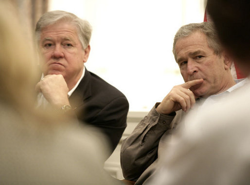 President George W. Bush is joined by Mississippi Governor Haley Barbour, left, at a meeting with local leaders Thursday, March 1, 2007 in Biloxi, Miss., on the recovery and reconstruction efforts underway in the region devastated by Hurricane Katrina. White House photo by Eric Draper