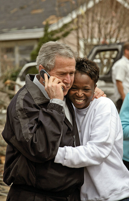 President George W. Bush visits with residents in Americus, Ga., March 3, 2007. The President toured tornado-damaged areas in Alabama and Georgia. White House photo by Paul Morse