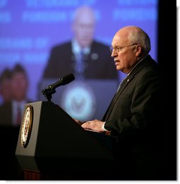 Vice President Dick Cheney delivers remarks Monday, March 5, 2007 to the Joint Opening Session of the Veterans of Foreign Wars National Legislative Conference in Washington, D.C.  White House photo by David Bohrer