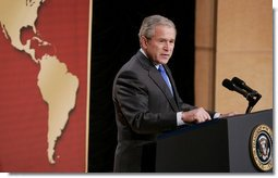 President George W. Bush addresses his remarks to United States Hispanic Chamber of Commerce, speaking on Western Hemisphere policy, Monday, March 5, 2007 in Washington, D.C. President Bush travels to Latin America later this week.  White House photo by Paul Morse