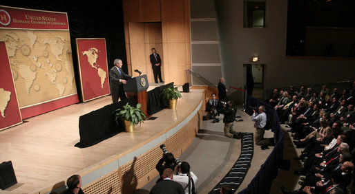President George W. Bush addresses his remarks to United States Hispanic Chamber of Commerce, speaking on Western Hemisphere policy, Monday, March 5, 2007 in Washington, D.C. President Bush, who travels to Latin America later this week, said the two regions are linked by common values, shared interests and growing ties that have helped advance peace and prosperity on both continents. White House photo by Paul Morse