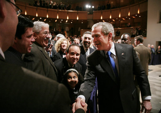 President George W. Bush shakes hands with audience members following his remarks to United States Hispanic Chamber of Commerce, speaking on Western Hemisphere policy, Monday, March 5, 2007 in Washington, D.C. White House photo by Paul Morse