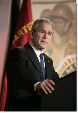 "President George W. Bush addresses the American Legion 47th National Conference, Tuesday, March 6, 2007, in Washington, D.C. President Bush in his address said, ""You know America can overcome any challenge or any difficulty. You know America's brightest days are still ahead. And you know that nothing we say here -- no speech, or vote, or resolution in the United States Congress -- means more to the future of our country than the men and women who wake up every morning and put on the uniform of our country and defend the United States of America.""  White House photo by Eric Draper"