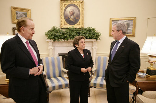 President George W. Bush meets with former U.S. Sen. Bob Dole and former U.S. Health and Human Services Secretary Donna Shalala in the Oval Office, Wednesday, March 7, 2007, who will co-chair the President's Commission on Care for America's Returning Wounded Warriors. White House photo by Eric Draper