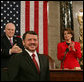 Vice President Dick Cheney and House Speaker Nancy Pelosi applaud King Abdullah II of Jordan as he prepares to address a Joint Meeting of Congress, Tuesday, March 7, 2007 at the U.S. Capitol. White House photo by David Bohrer