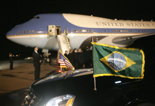 The Presidential limousine flies the flags of the United States and Brazil on the arrival of President George W. Bush and Mrs. Laura Bush to Guarulhos International Airport aboard Air Force One in Sao Paulo, Brazil, March 8, 2007, the first stop in their week-long trip to Latin America. White House photo by Eric Draper