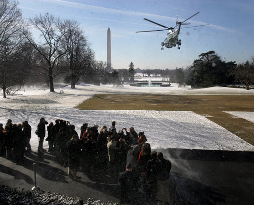 President George W. Bush and Mrs. Laura Bush depart the South Lawn aboard Marine One, Thursday, March 8, 2007, for a six-day trip to Latin America, with scheduled stops in Brazil, Uruguay, Colombia, Guatemala, and Mexico. White House photo by David Bohrer