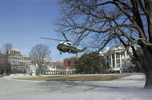 President George W. Bush and Mrs. Laura Bush depart the White House South Lawn via Marine One en route Andrews Air Force Base Thursday, March 8, 2007. The President and Mrs. Bush are traveling to Brazil, Uruguay, Colombia, Guatemala, and Mexico from March 8 - 14, 2007. White House photo by Joyce Boghosian