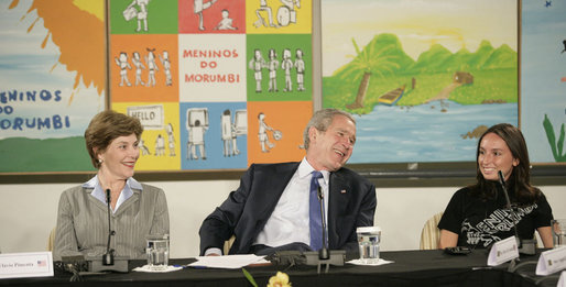 President George W. Bush and Mrs. Laura Bush participate Friday, March 9, 2007, in a community roundtable at Meninos do Morumbi. Founded in 1996 by professional musician Flavio Pimenta, the organization teaches musical skills to the young people of Sao Paulo as an alternative to the culture of drugs and crime. White House photo by Eric Draper