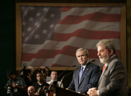 President George W. Bush listens intently to remarks by President Luiz Inacio Lula da Silva of Brazil during a joint press availability Friday, March 9, 2007, in Sao Paulo. White House photo by Eric Draper
