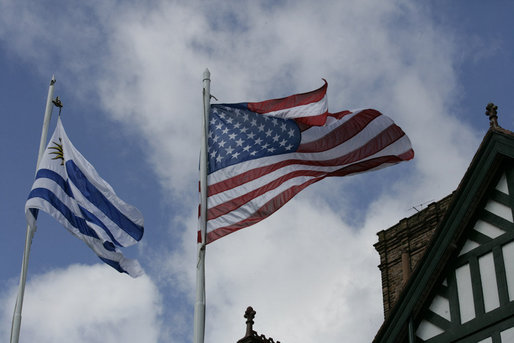 The Uruguayan and United States flags fly over the Main House at Estancia Anchorena, the Colonia, Uruguay retreat of President Tabare Vazquez welcoming President George W. Bush and Mrs. Laura Bush Saturday, March 10, 2007. White House photo by Eric Draper