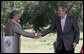 President George W. Bush shakes hands with President Tabare Vazquez of Uruguay after a joint press availability Saturday, March 10, 2007, at Estancia Anchorena, the President's retreat, in Colonia. White House photo by Eric Draper