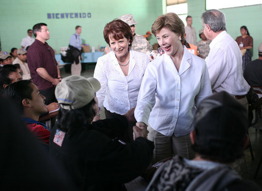 Mrs. Laura Bush and Mrs. Wendy Widmann de Berger, wife of President Oscar Berger of Guatemala, greet villagers Monday, March 12, 2007, at the Carlos Emilio Leonardo School in the Guatemalan village of Santa Cruz Balanya. White House photo by Paul Morse
