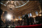 President George W. Bush and President Oscar Berger deliver remarks Monday, March 12, 2007, during a joint press availability at the Palacio Nacional de la Cultura in Guatemala City. President Bush and Mrs. Laura Bush concluded their fourth leg of a five-country, Latin American visit before departing Guatemala for Mexico. White House photo by Paul Morse