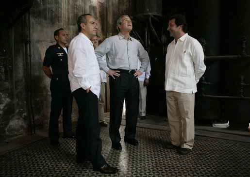 President George W. Bush and President Felipe Calderon of Mexico participate in a walking tour of the Hacienda Temozon Tuesday, March 13, 2007, in Temozon Sur, Mexico. White House photo by Eric Draper